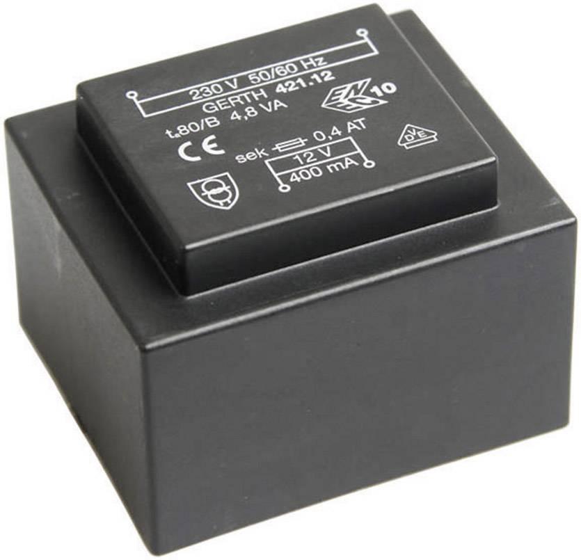 Transformátor do DPS Gerth EI 42/14,8, prim: 230 V, Sek: 9 V, 533 mA, 4,8 VA