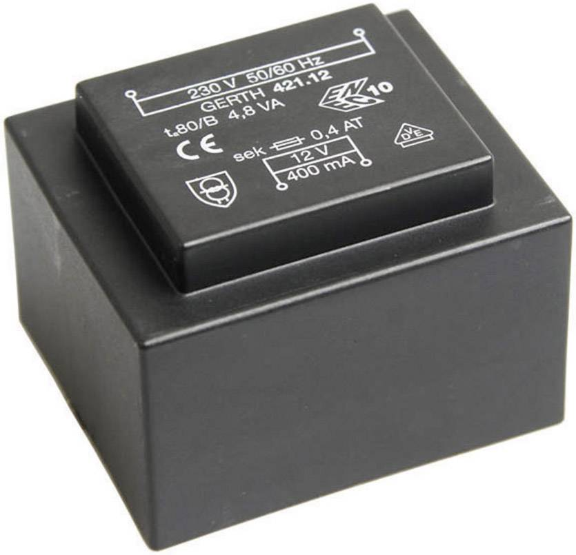 Transformátor do DPS Gerth EI 42/14,8, prim: 230 V, Sek: 2x 4,5 V, 533 mA, 4,8 VA