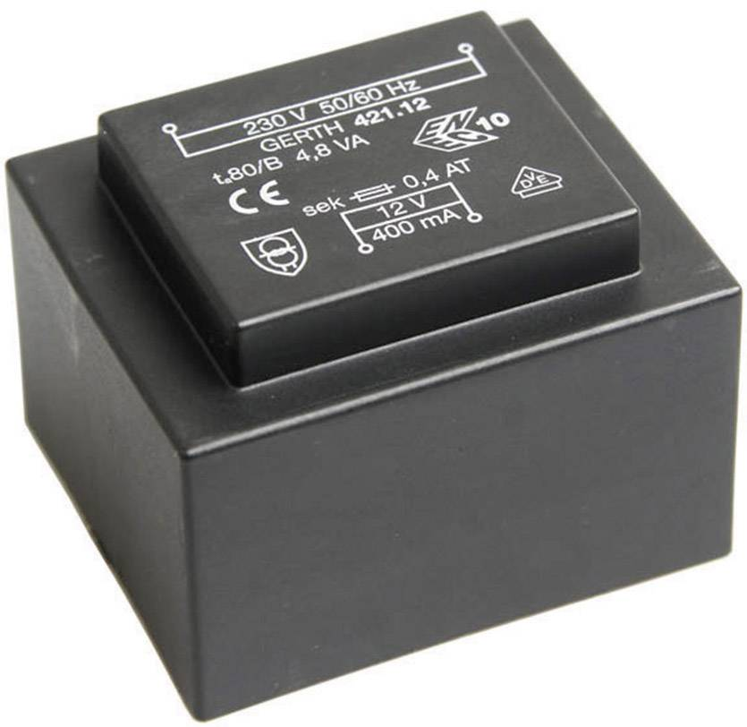 Transformátor do DPS Gerth EI 42/14,8, prim: 230 V, Sek: 12 V, 400 mA, 4,8 VA