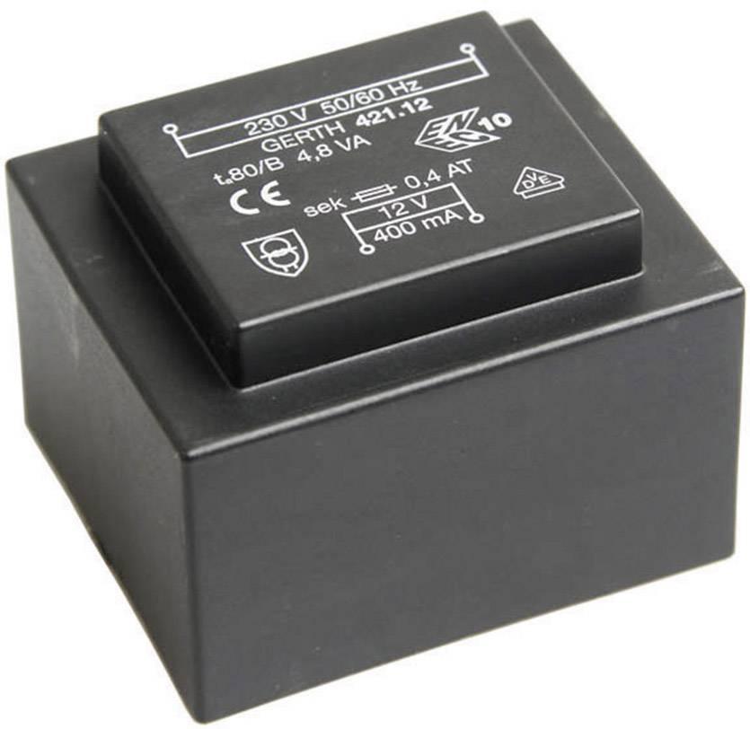 Transformátor do DPS Gerth EI 42/14,8, prim: 230 V, Sek: 2x 6 V, 400 mA, 4,8 VA