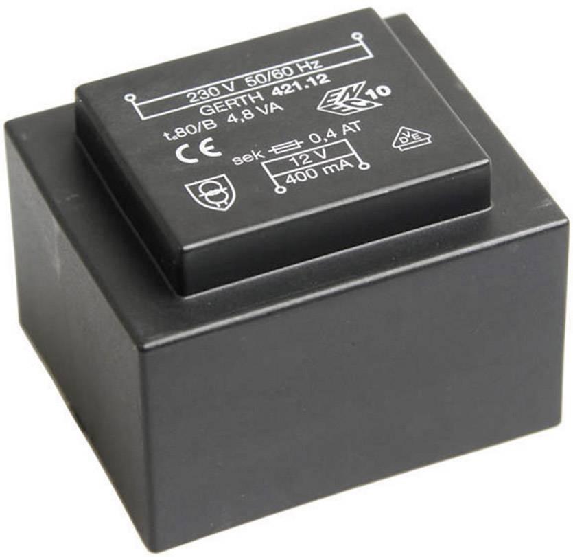 Transformátor do DPS Gerth EI 42/14,8, prim: 230 V, Sek: 2x 9 V, 266 mA, 4,8 VA