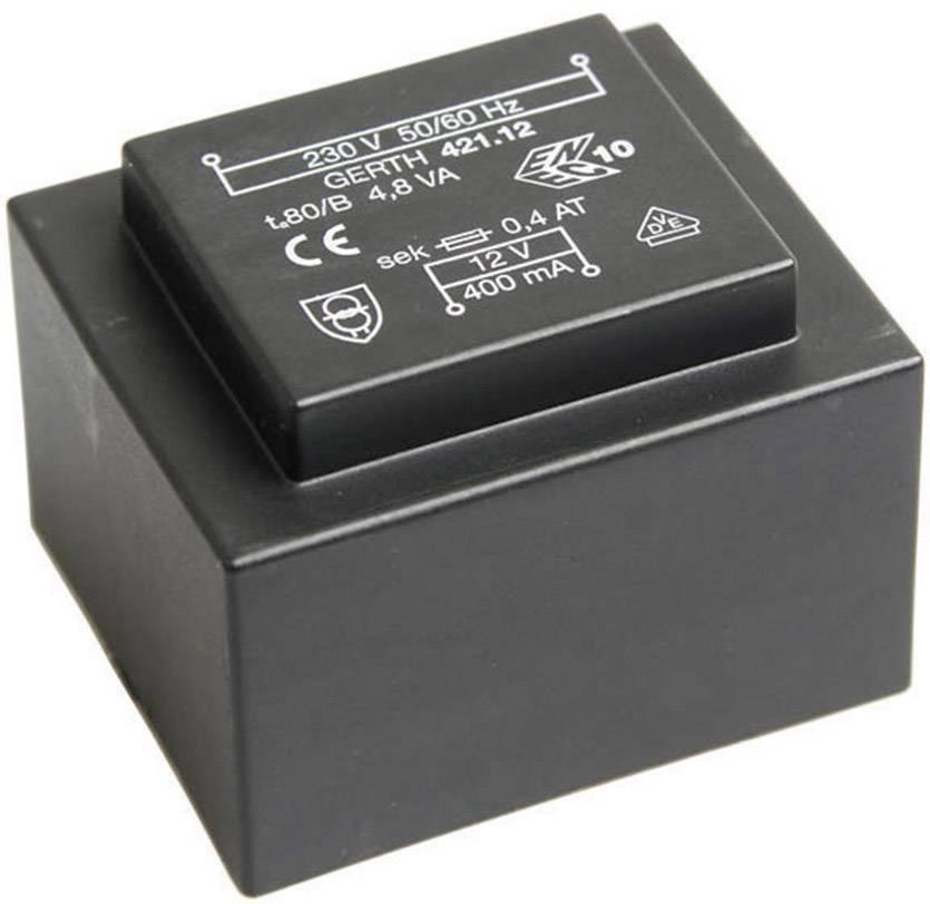 Transformátor do DPS Gerth EI 42/14,8, prim: 230 V, Sek: 2x 15 V, 160 mA, 4,8 VA