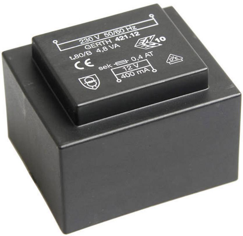 Transformátor do DPS Gerth EI 42/14,8, prim: 230 V, Sek: 2x 24 V, 100 mA, 4,8 VA