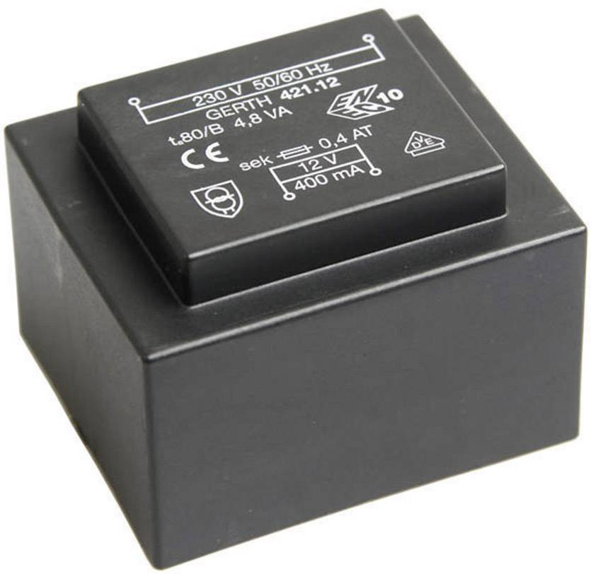 Transformátor do DPS Gerth EI 42/14,8, prim: 230 V, Sek: 2x 30 V, 80 mA, 4,8 VA