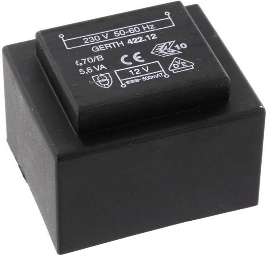 Transformátor do DPS Gerth EI 42/14,8, prim: 230 V, Sek: 15 V, 373 mA, 5,6 VA