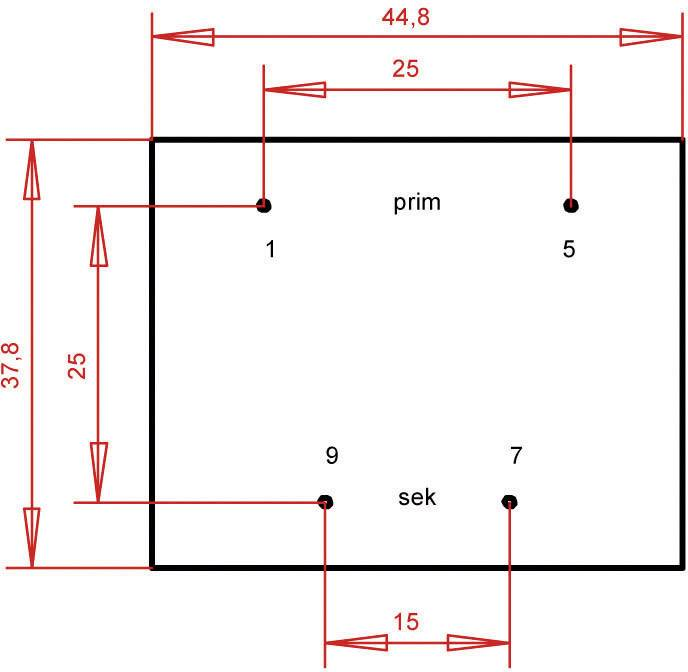 Transformátor do DPS Gerth EI 42/14,8, prim: 230 V, Sek: 18 V, 311 mA, 5,6 VA