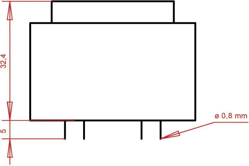 Transformátor do DPS Gerth EI 42/14,8, prim: 230 V, Sek: 2x 12 V, 233 mA, 5,6 VA