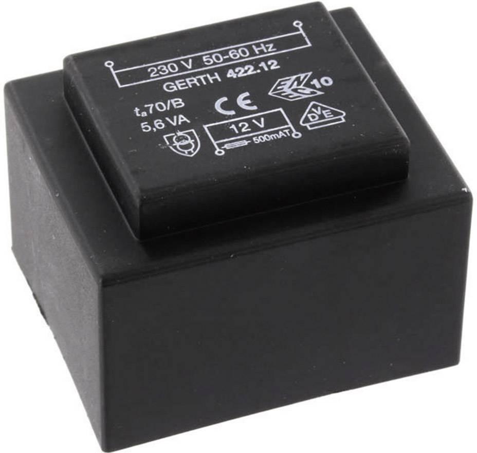Transformátor do DPS Gerth EI 42/14,8, prim: 230 V, Sek: 2x 15 V, 186 mA, 5,6 VA