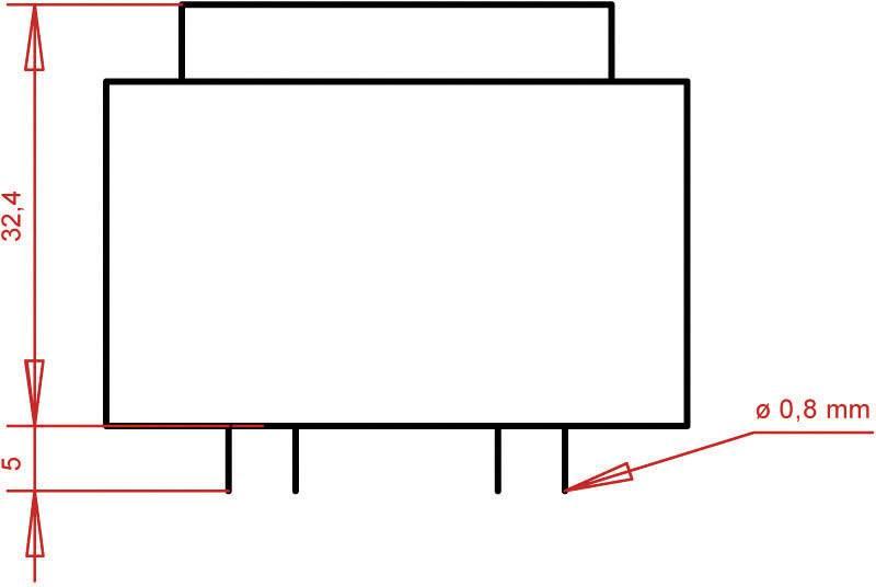 Transformátor do DPS Gerth EI 42/14,8, prim: 230 V, Sek: 2x 30 V, 93 mA, 5,6 VA