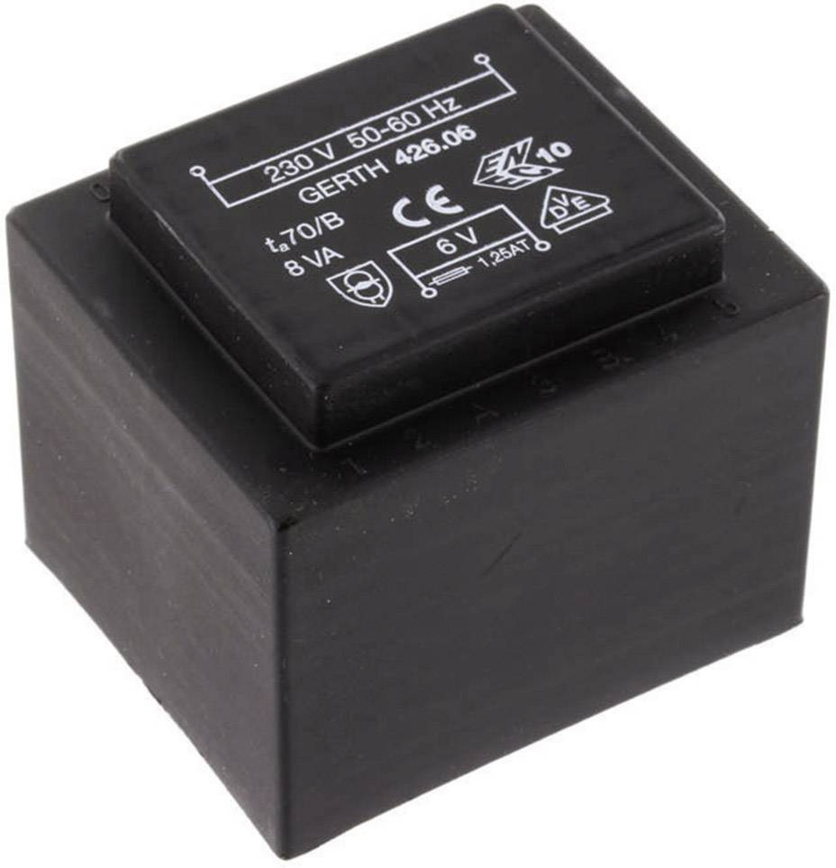 Transformátor do DPS Gerth EI 42/20, prim: 230 V, Sek: 2x 4,5 V, 888 mA, 8 VA