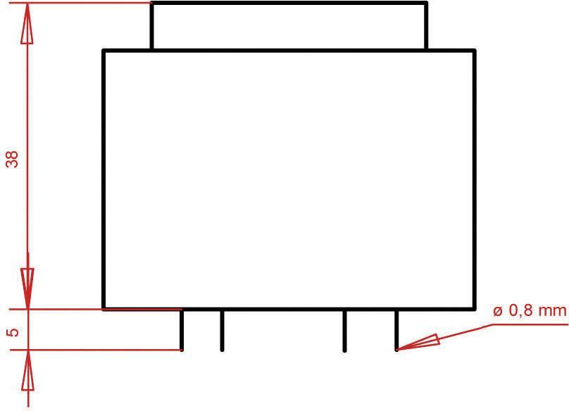 Transformátor do DPS Gerth EI 42/20, prim: 230 V, Sek: 2x 15 V, 266 mA, 8 VA