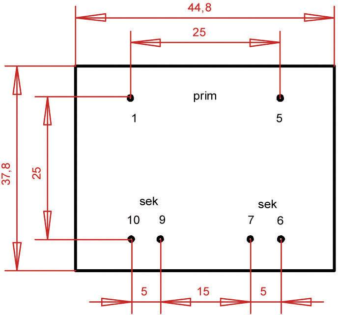 Transformátor do DPS Gerth EI 42/20, prim: 230 V, Sek: 2x 18 V, 222 mA, 8 VA