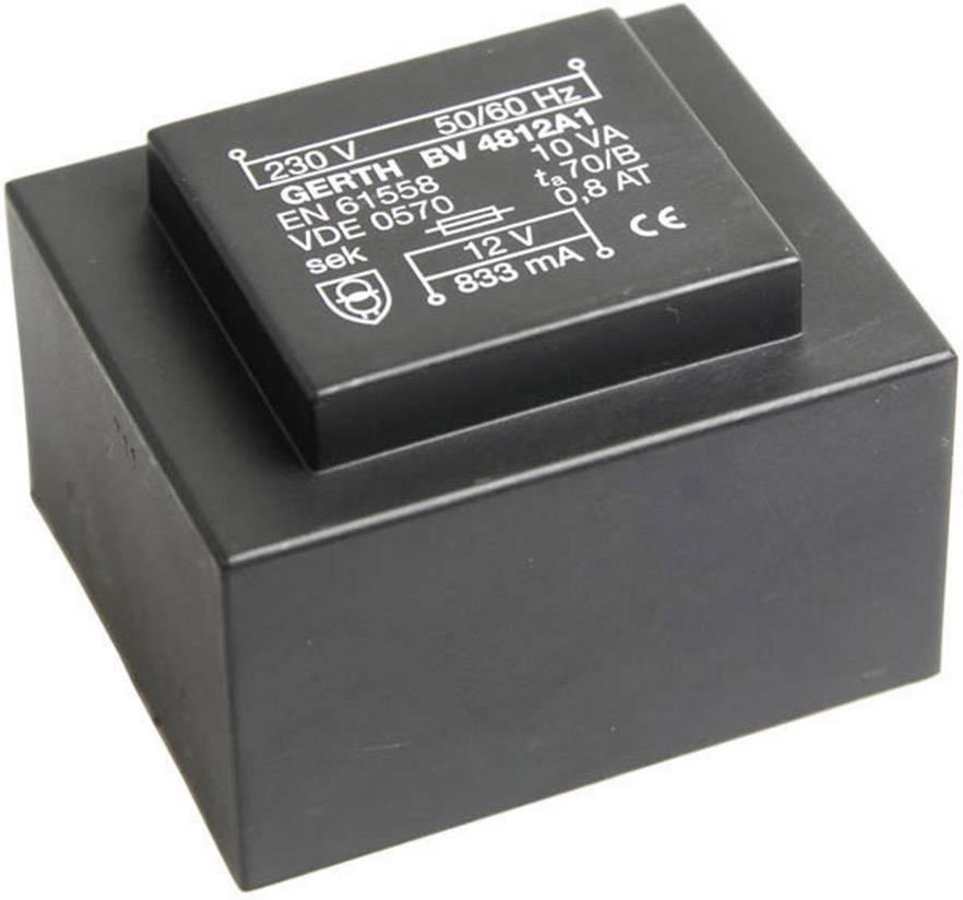 Transformátor do DPS Gerth EI 48/16,8, prim: 230 V, Sek: 12 V, 833 mA, 10 VA