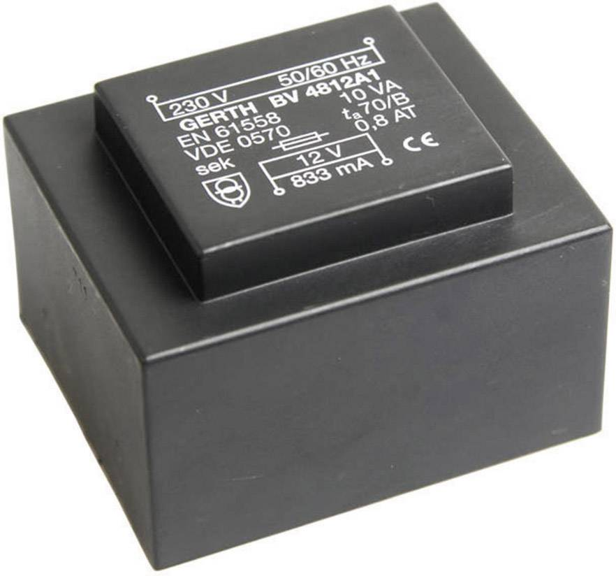 Transformátor do DPS Gerth EI 48/16,8, prim: 230 V, Sek: 24 V, 416 mA, 10 VA