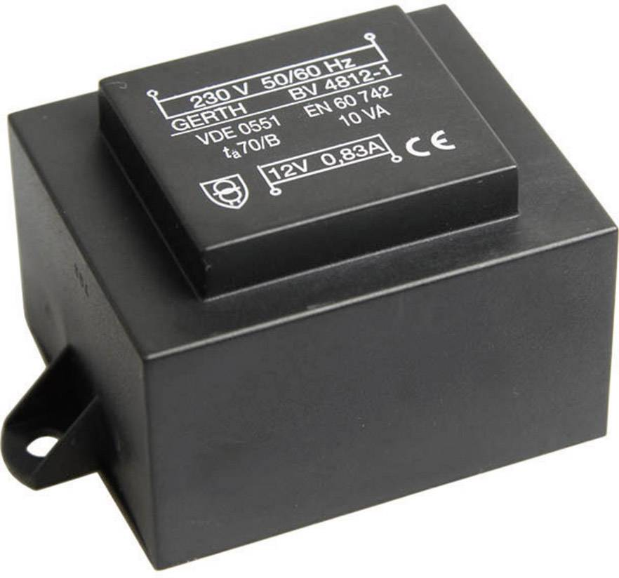 Transformátor do DPS Gerth EI 48/16,8, prim: 230 V, Sek: 2x 6 V, 833 mA, 10 VA