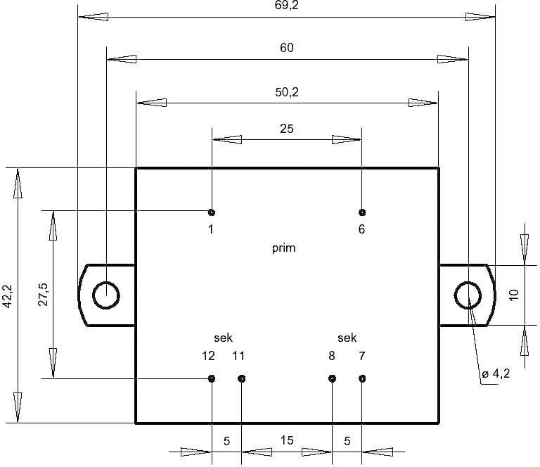 Transformátor do DPS Gerth EI 48/16,8, prim: 230 V, Sek: 2x 7,5 V, 666 mA, 10 VA