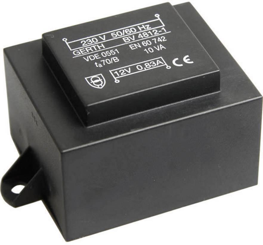 Transformátor do DPS Gerth EI 48/16,8, prim: 230 V, Sek: 2x 18 V, 277 mA, 10 VA