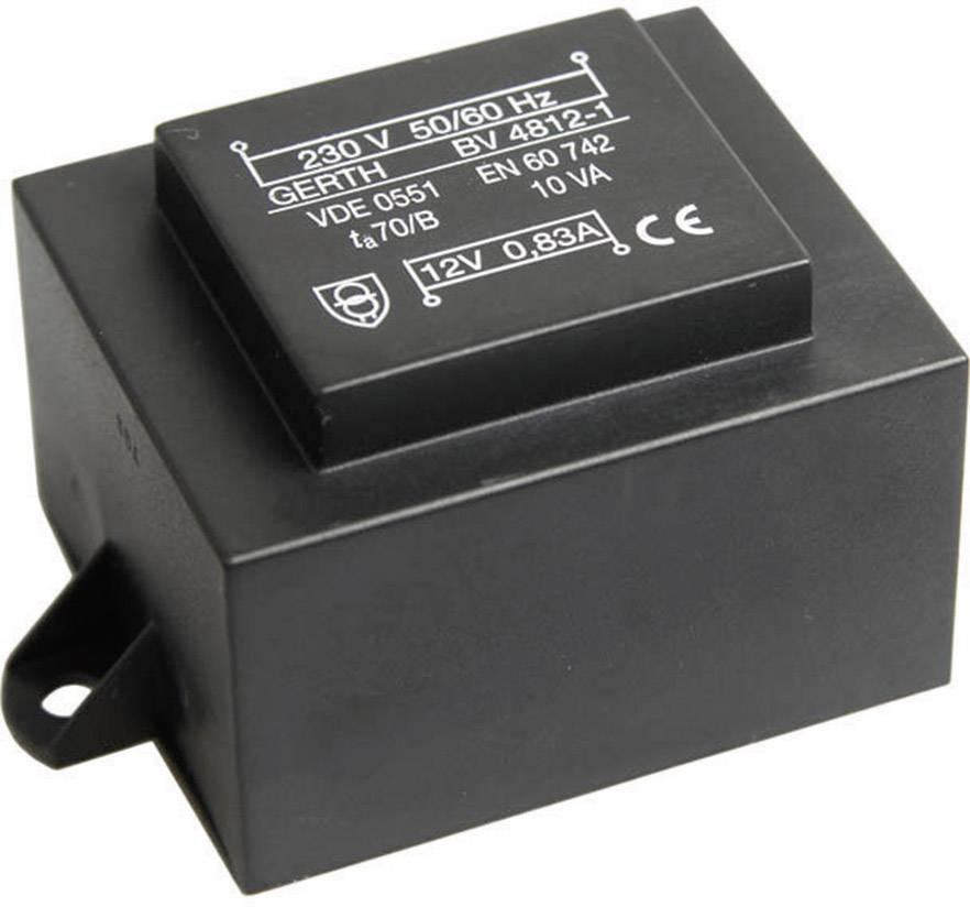 Transformátor do DPS Gerth EI 54/18,8, prim: 230 V, Sek: 2x 24 V, 208 mA, 10 VA
