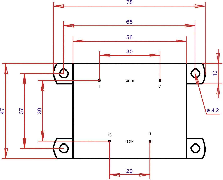 Transformátor do DPS Gerth EI 54/18,8, prim: 230 V, Sek: 15 V, 1066 mA, 16 VA