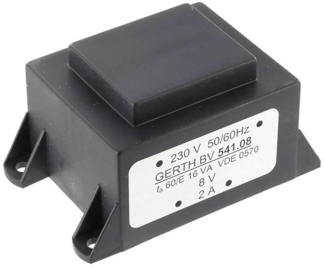 Transformátor do DPS Gerth EI 54/18,8, prim: 230 V, Sek: 2x 9 V, 888 mA, 16 VA