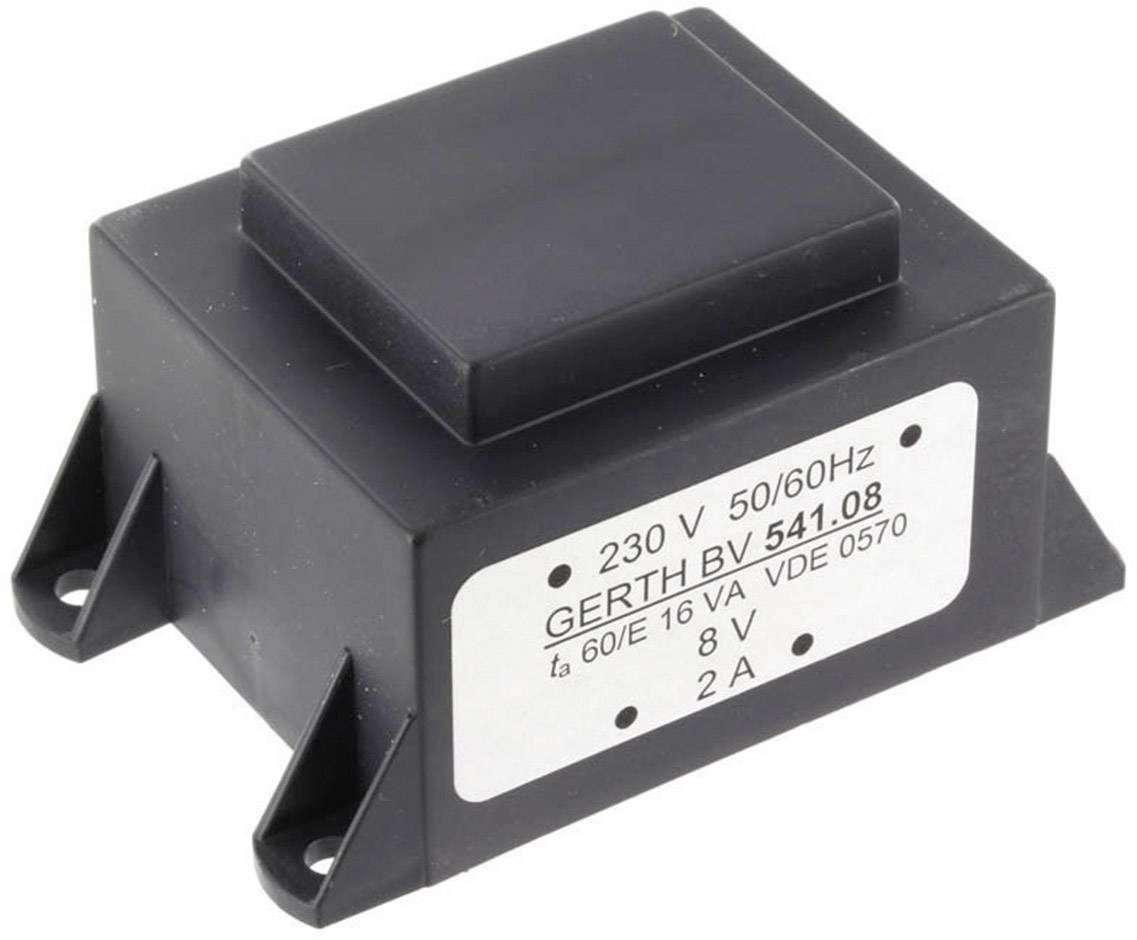 Transformátor do DPS Gerth EI 54/18,8, prim: 230 V, Sek: 2x 15 V, 533 mA, 16 VA