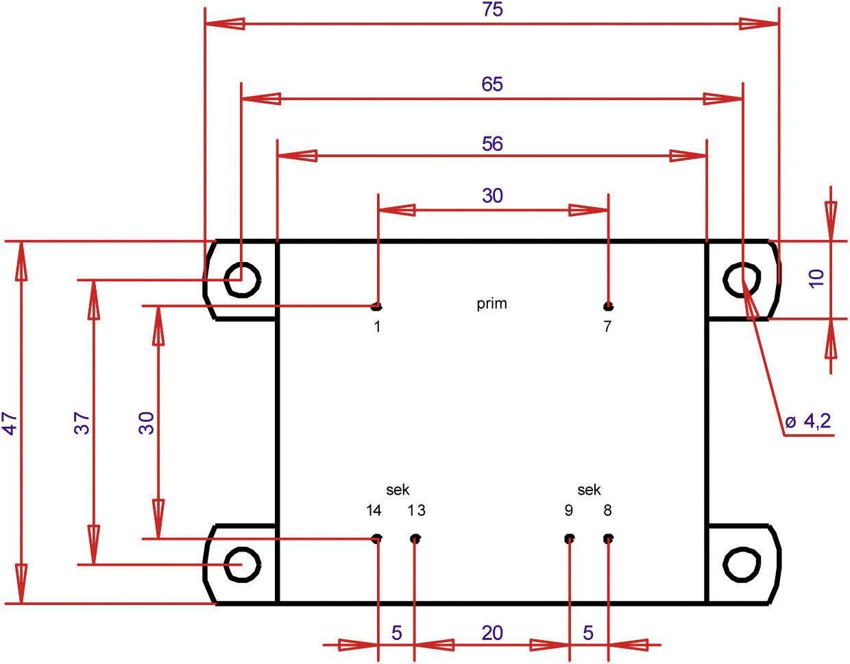 Transformátor do DPS Gerth EI 54/18,8, prim: 230 V, Sek: 2x 24 V, 333 mA, 16 VA