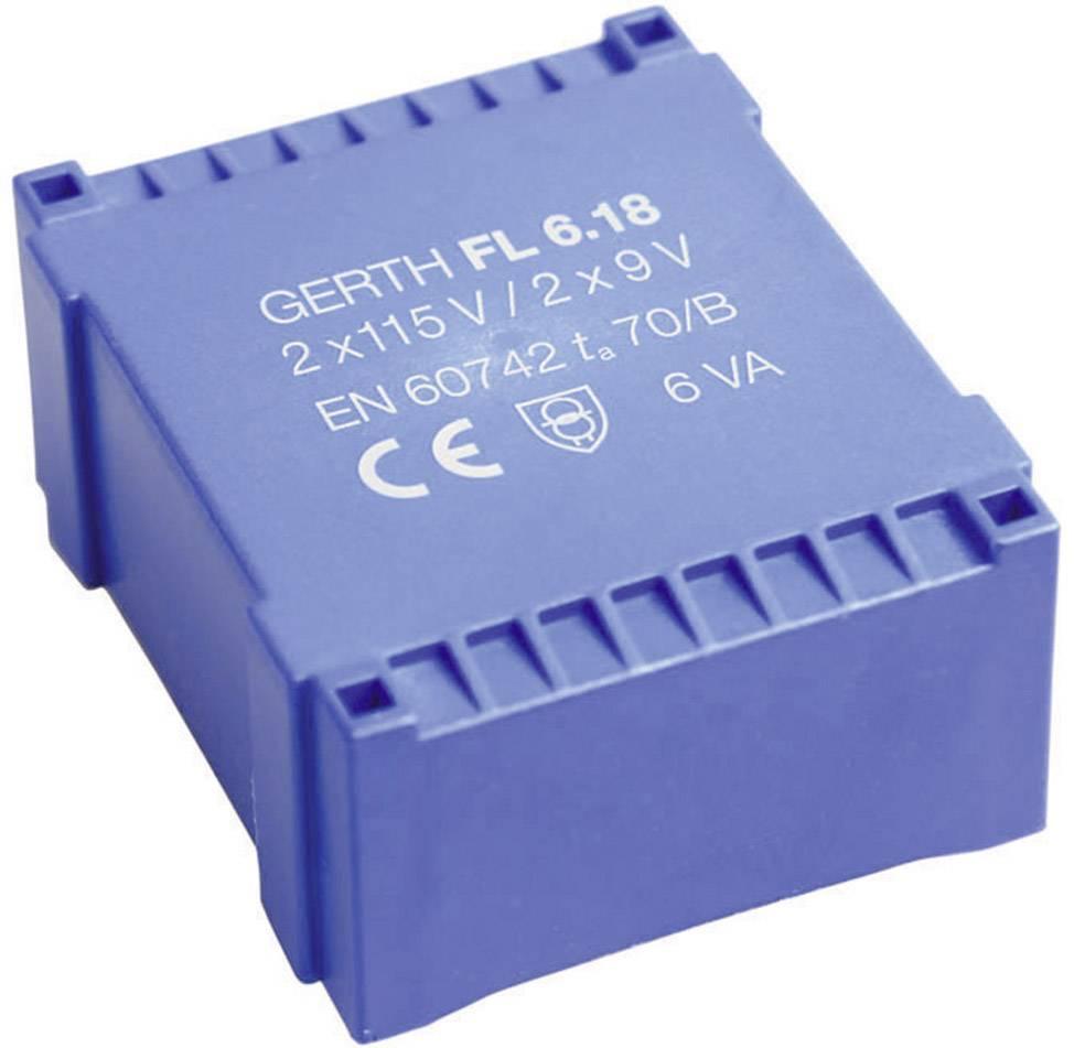 Plochý transformátor do DPS Gerth, 2x 12 V