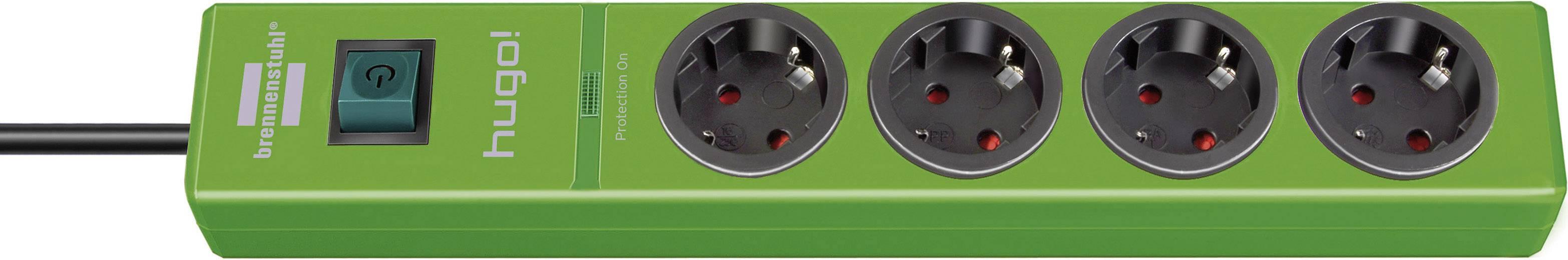 Zásuvková lišta Brennenstuhl s prepäťovou ochranou a spínačom, 4 zásuvky, zelená