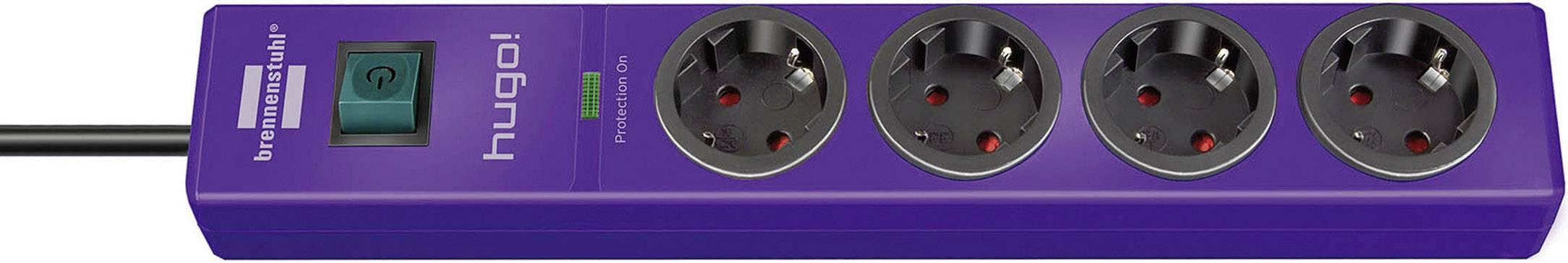 Zásuvková lišta Brennenstuhl s prepäťovou ochranou a spínačom, 4 zásuvky, fialová