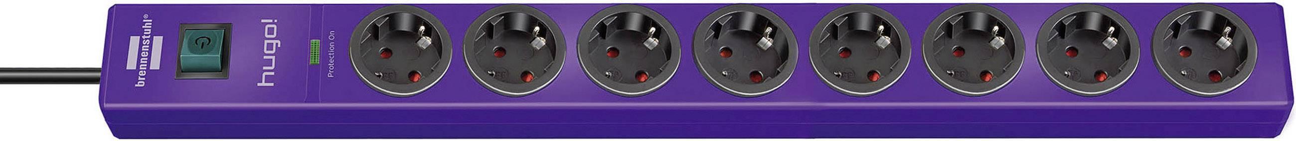 Zásuvková lišta Brennenstuhl s prepäťovou ochranou a spínačom, 8 zásuviek, fialová