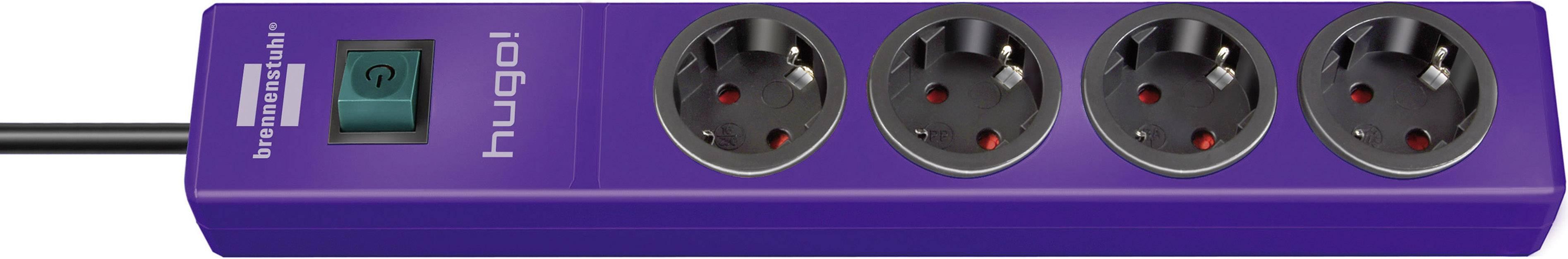 Zásuvková lišta so spínačom Brennenstuhl Hugo!, 1150610134, 4 zásuvky, 35 cm, fialová