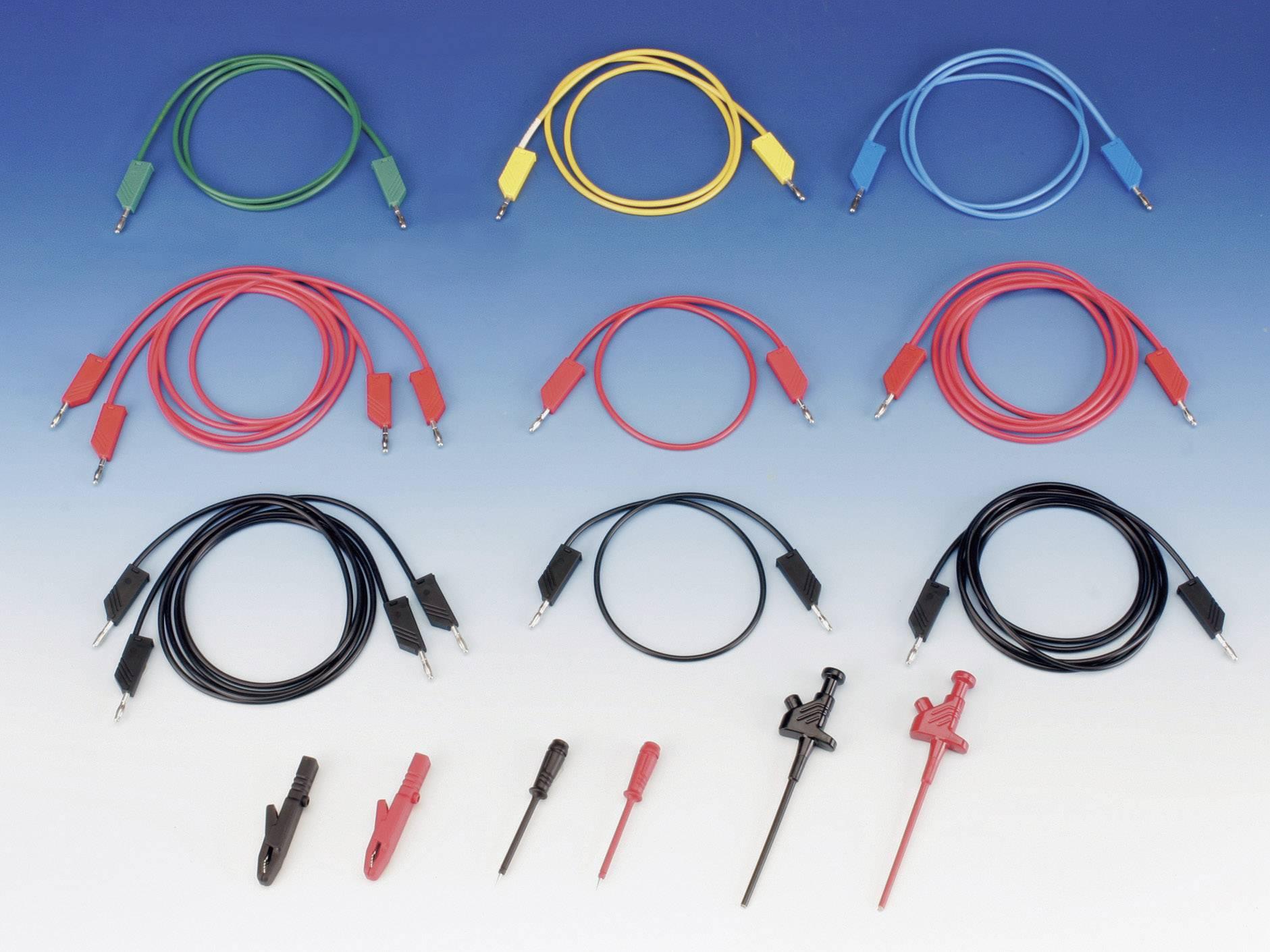 Sada měřicích kabelů banánek 4 mm ⇔ banánek 4 mm SKS Hirschmann CO ML, 1 m