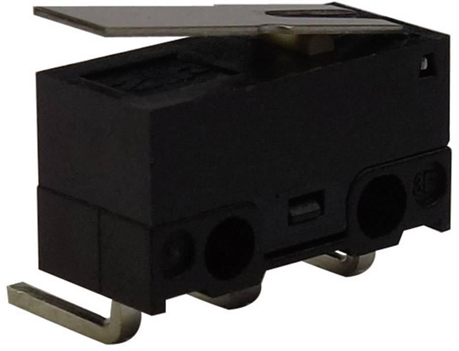 Mikrospínač s páčkou Zippy DF-03S-1C-Z, 125 V/AC, 3 A, do DPS zahnuté, 1x zap/(zap)