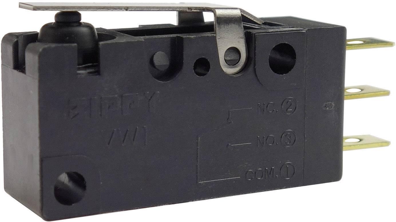 Mikrospínač - rovná kovová páka Zippy VW1-10S1-01D3-Z, 250 V/AC, 10 A