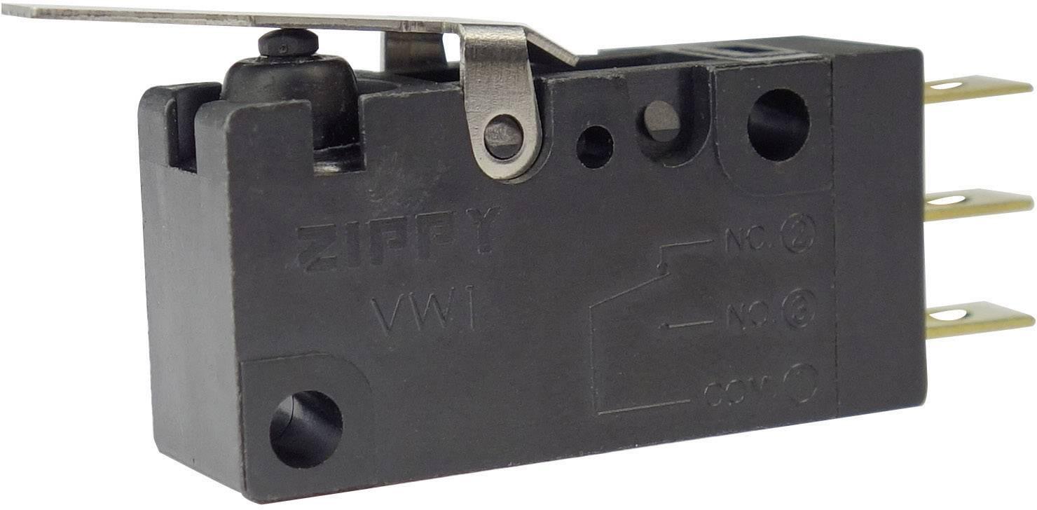 Mikrospínač s páčkou Zippy VW1-P1S2-01D3-Z, 250 V/AC, 0,1 A, 1x zap/(zap)