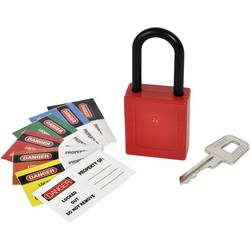 Nejiskřící visací zámek na klíč Kasp K80040, červená