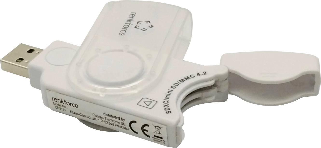 Externí čtečka paměťových karet Renkforce CR06e-K, USB 3.0, bílá