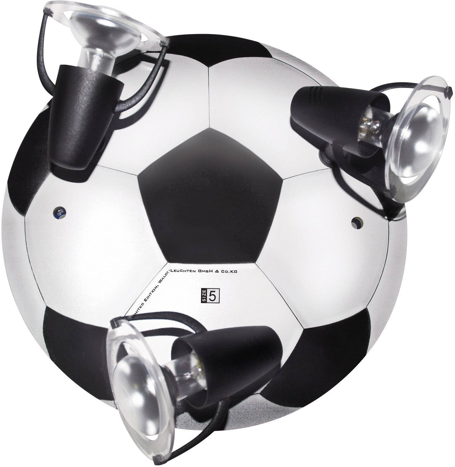 Stropná lampa futbal Waldi Leuchten Nogometna lopta 27403, E14, 27 W, s úspornou žiarovkou, čiernobiela