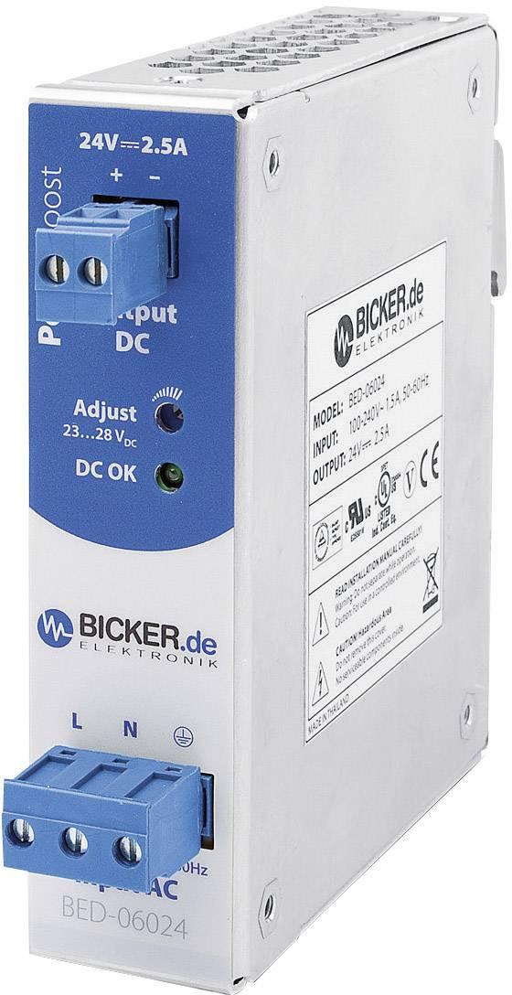 Napájecí zdroj na DIN lištu Bicker Elektronik BED-06024, 60 W, 24 V/DC