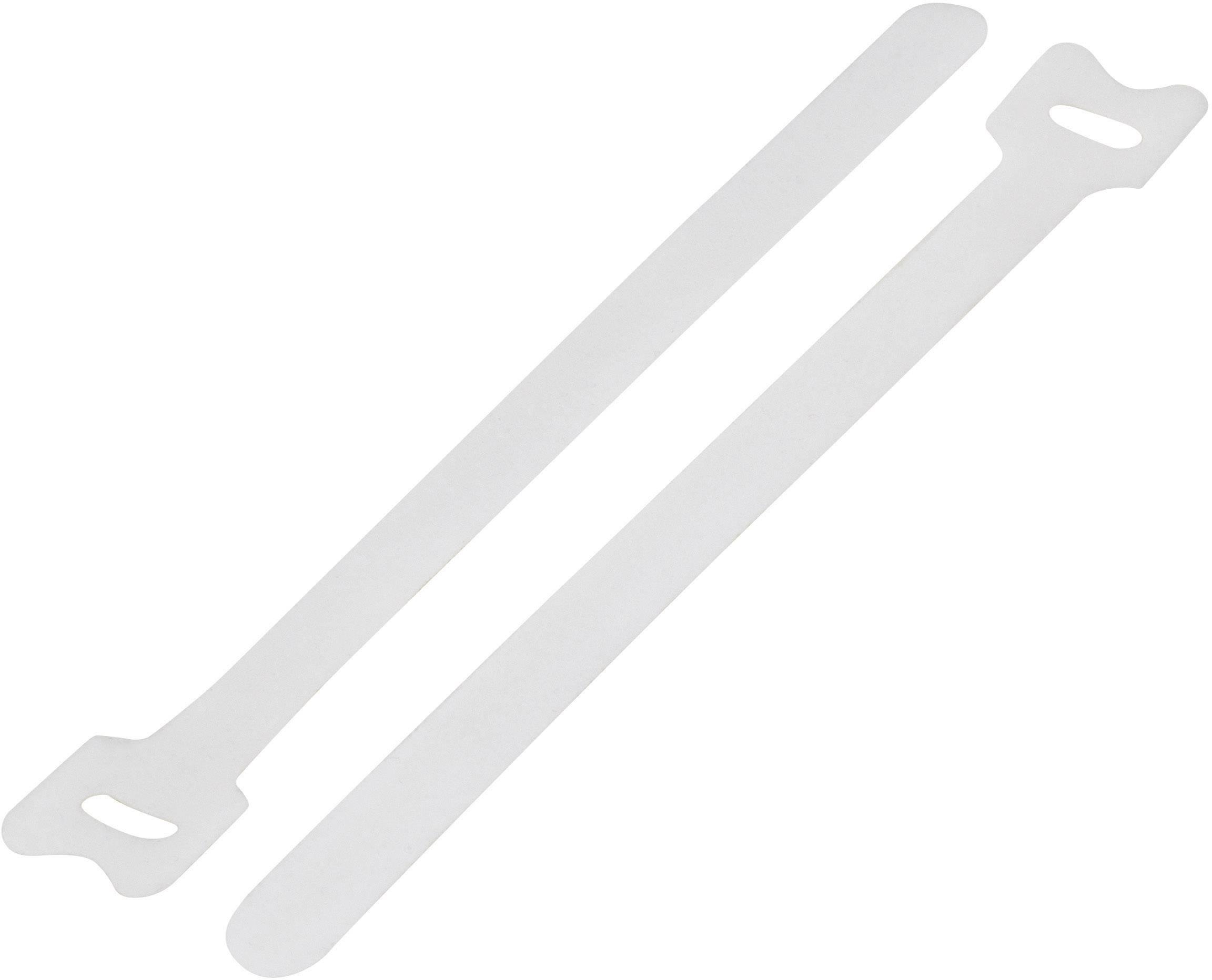 Káblový manažér na suchý zips KSS MGT-125WE, (d x š) 125 mm x 12 mm, biela, 1 ks