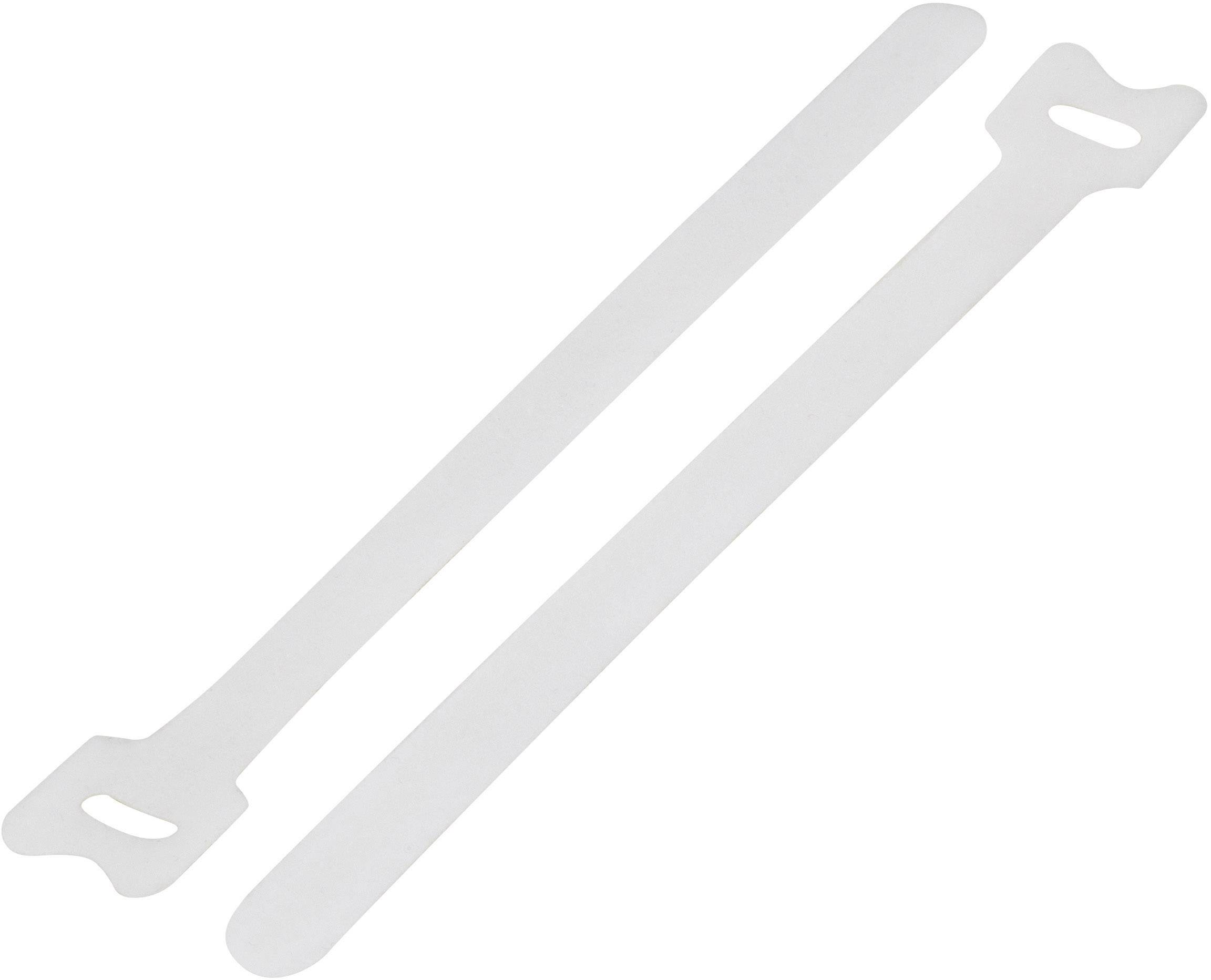 Kabelový manažer na suchý zip TRU COMPONENTS TC-MGT-180WE203, (d x š) 180 mm x 12 mm, bílá, 1 ks