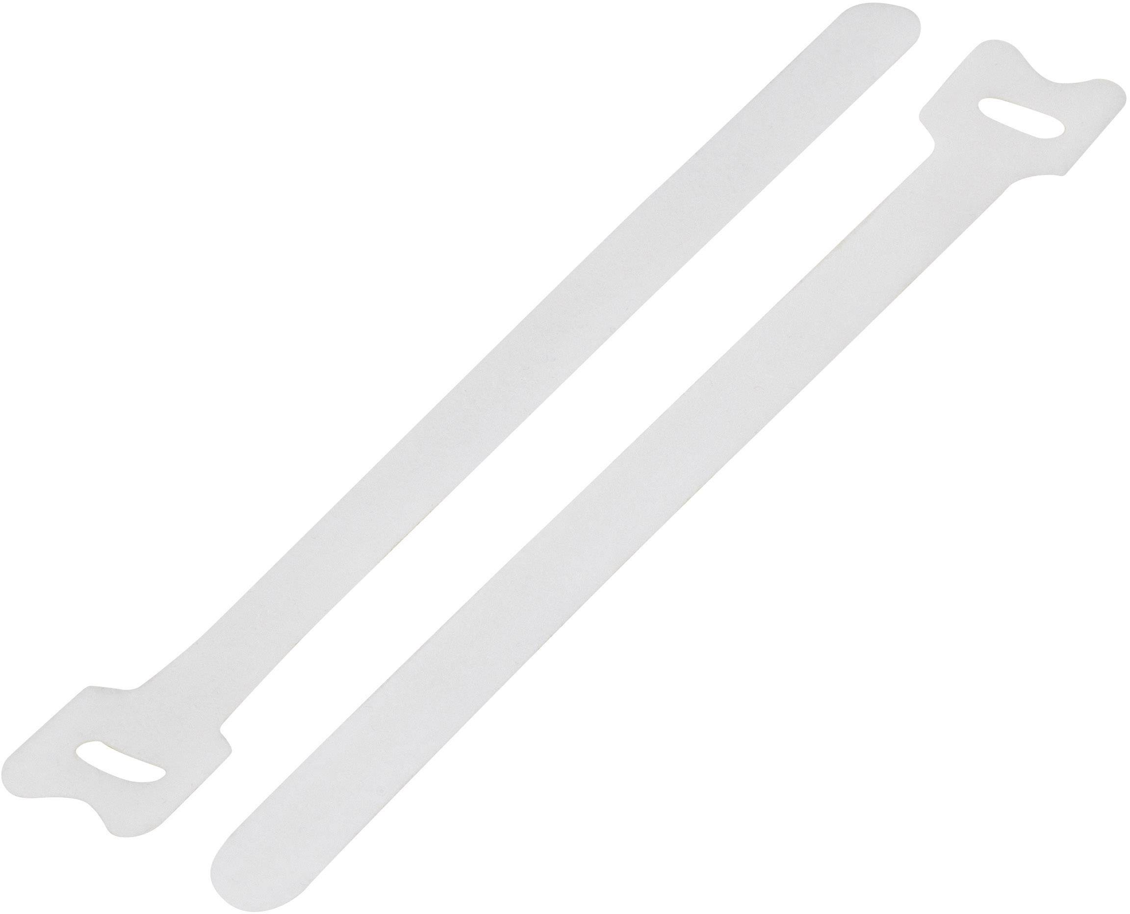 Káblový manažér na suchý zips TRU COMPONENTS TC-MGT-240WE203, (d x š) 240 mm x 16 mm, biela, 1 ks