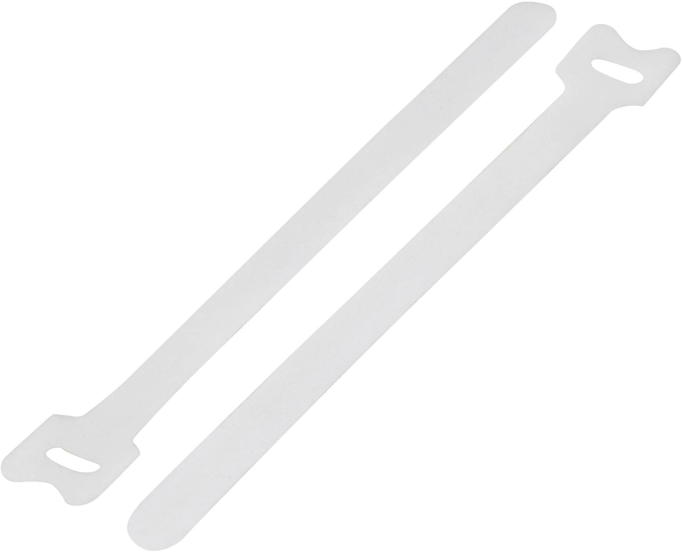 Kabelový manažer na suchý zip TRU COMPONENTS TC-MGT-240WE203, (d x š) 240 mm x 16 mm, bílá, 1 ks