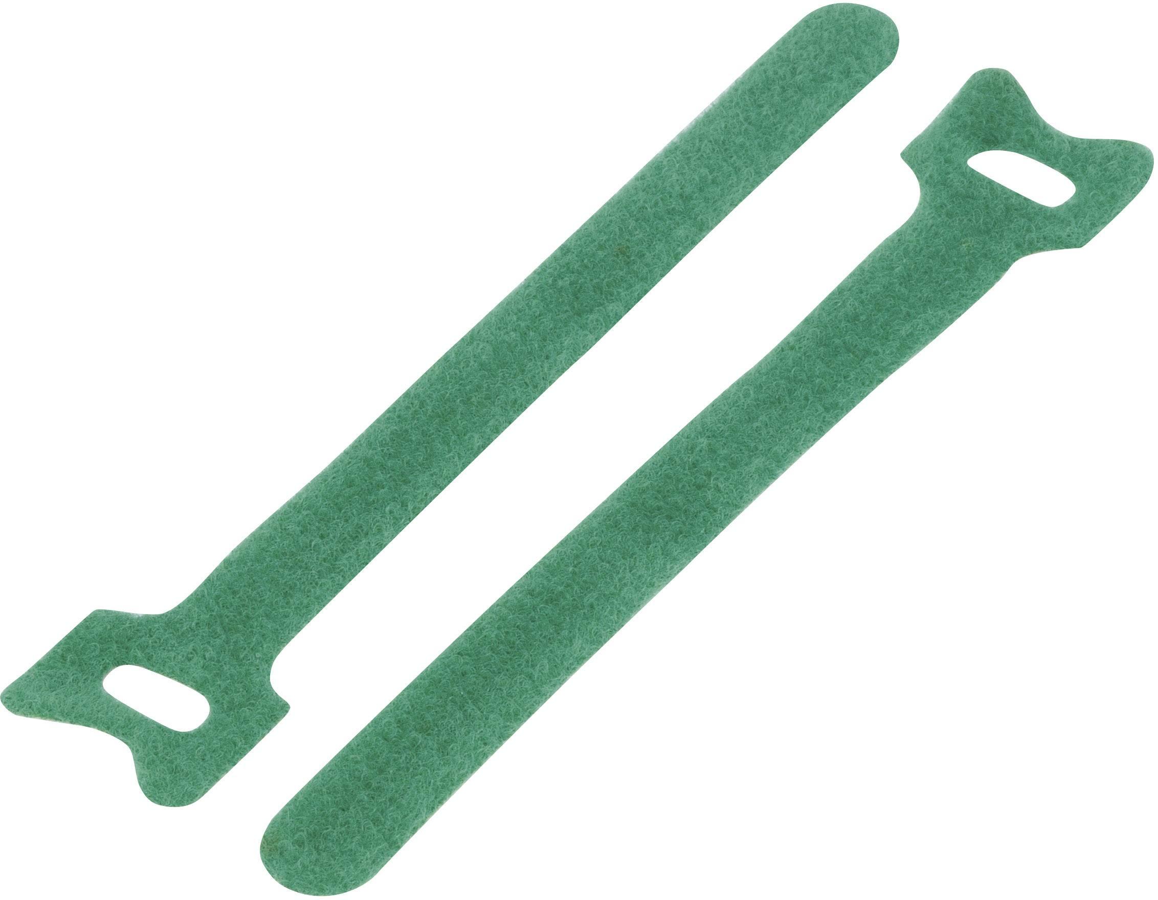 Káblový manažér na suchý zips TRU COMPONENTS TC-MGT-125GN203, (d x š) 125 mm x 12 mm, zelená, 1 ks