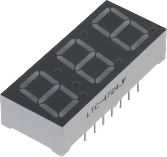 7segmentový displej Lite-On, oranžovožlutá , 10 mm, 2.05 V, počet číslic: 3