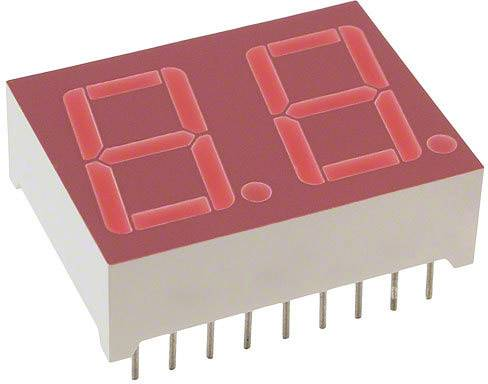 7-segmentový displej Lite-On LTD-6940HR, číslic 2, 14.22 mm, 2 V, červená