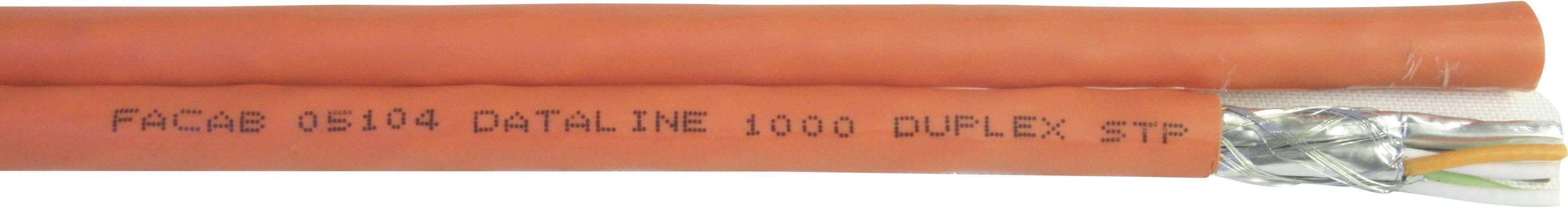 Síťový kabel Faber Kabel DL 1000 DUPLEX STP PIMF FRNC (100951), stíněný, 1 m, oranžová