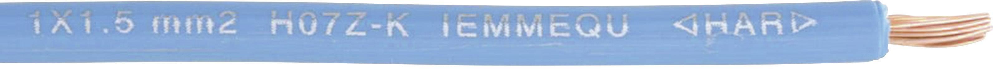 Opletenie / lanko Faber Kabel 040267 H07Z-K, 1 x 1.50 mm², vonkajší Ø 3.10 mm, 100 m, svetlomodrá