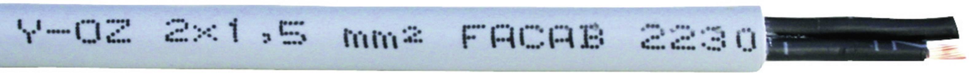 Riadiaci kábel Faber Kabel YSLY-OZ 030642, 2 x 0.50 mm², vonkajší Ø 4.80 mm, 500 V, metrový tovar, sivá