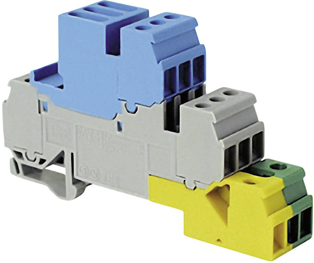 Instalační svorka ABB 1SNA 110 264 R0200, 17.8 mm, šroubovací, osazení Terre, N, L, šedá, modrá, zelenožlutá, 1 ks
